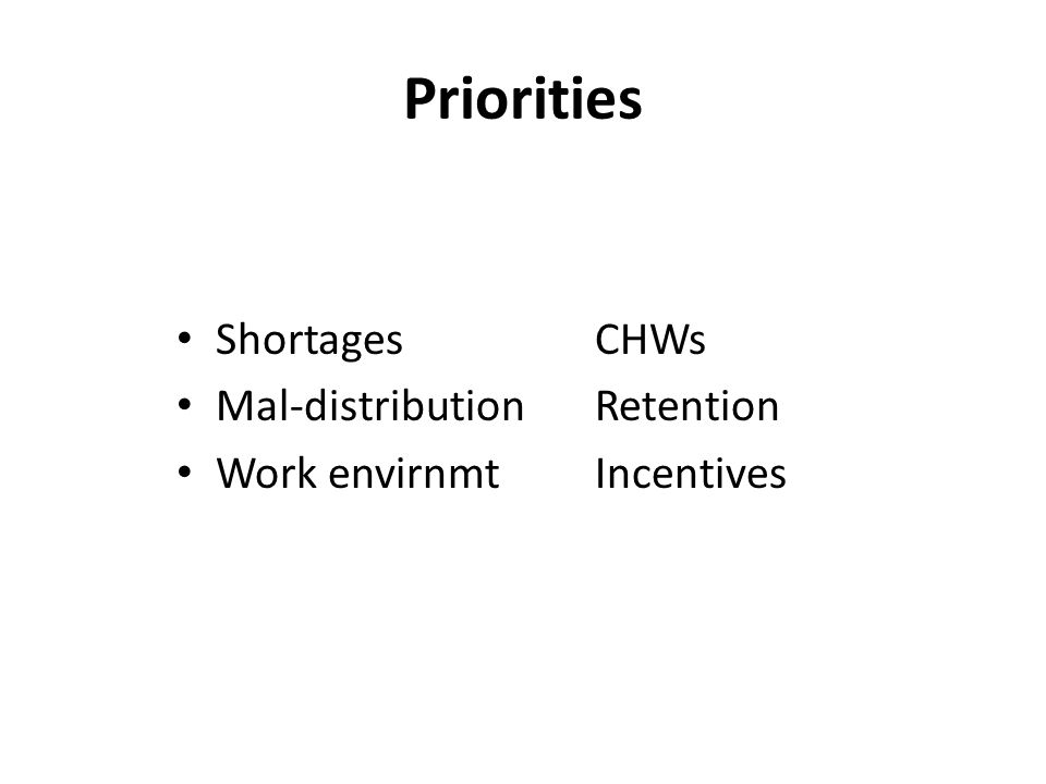 Priorities ShortagesCHWs Mal-distributionRetention Work envirnmtIncentives