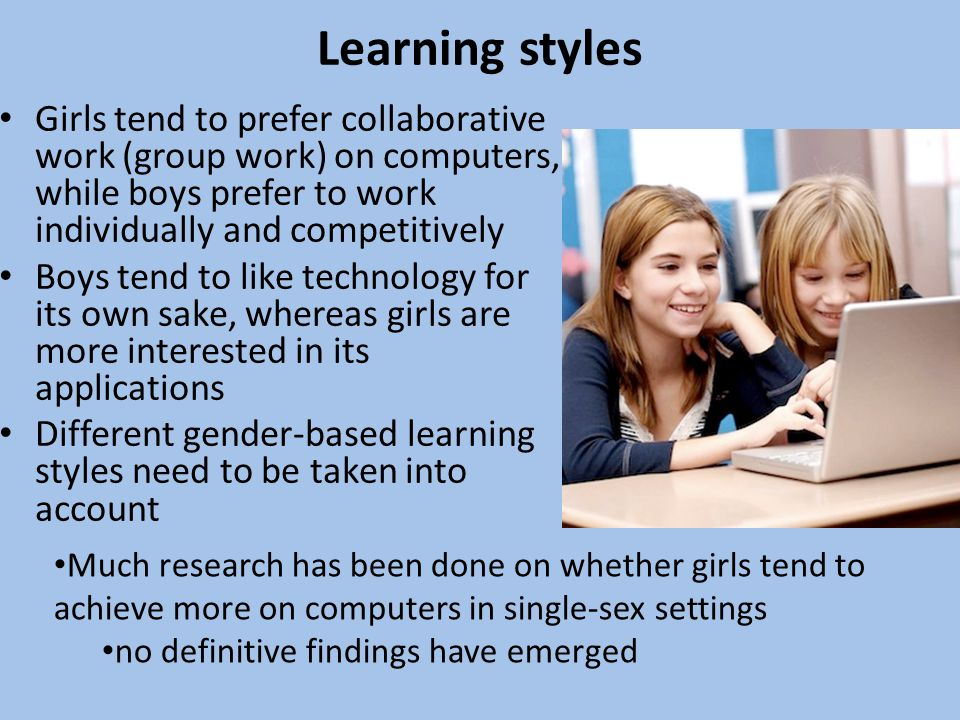 Learning styles Girls tend to prefer collaborative work (group work) on computers, while boys prefer to work individually and competitively Boys tend to like technology for its own sake, whereas girls are more interested in its applications Different gender-based learning styles need to be taken into account Much research has been done on whether girls tend to achieve more on computers in single-sex settings no definitive findings have emerged
