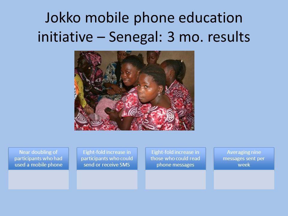 Jokko mobile phone education initiative – Senegal: 3 mo.