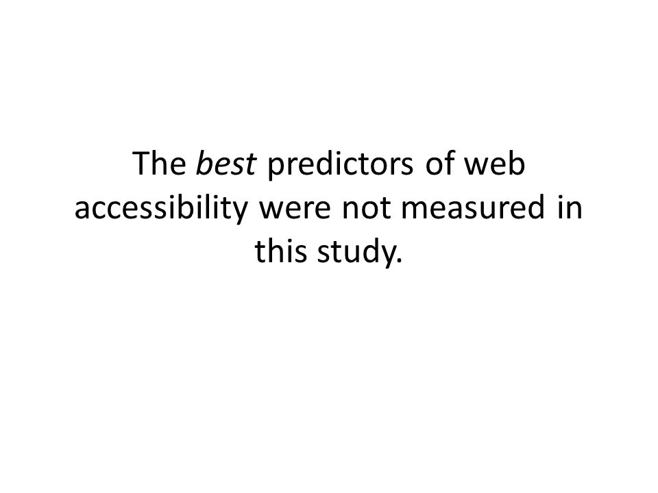 The best predictors of web accessibility were not measured in this study.