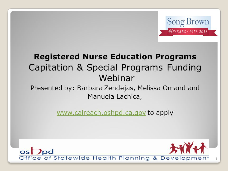 Registered Nurse Education Programs Capitation & Special Programs Funding Webinar Presented by: Barbara Zendejas, Melissa Omand and Manuela Lachica, w