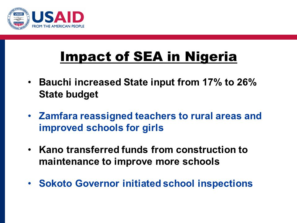 Bauchi increased State input from 17% to 26% State budget Zamfara reassigned teachers to rural areas and improved schools for girls Kano transferred funds from construction to maintenance to improve more schools Sokoto Governor initiated school inspections Impact of SEA in Nigeria
