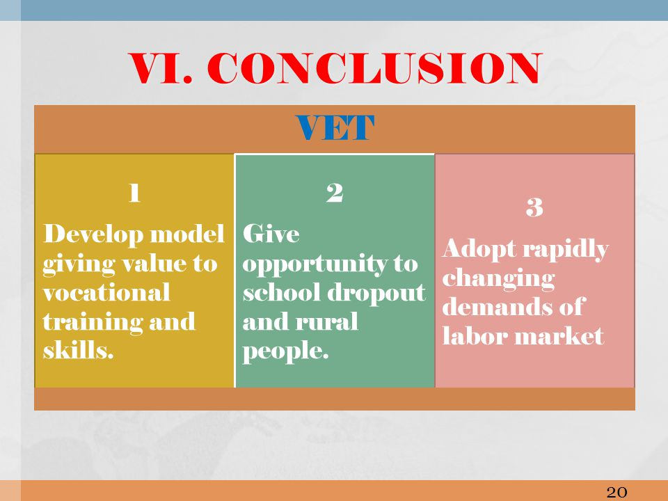 VET 1 Develop model giving value to vocational training and skills. 2 Give opportunity to school dropout and rural people. 3 Adopt rapidly changing de