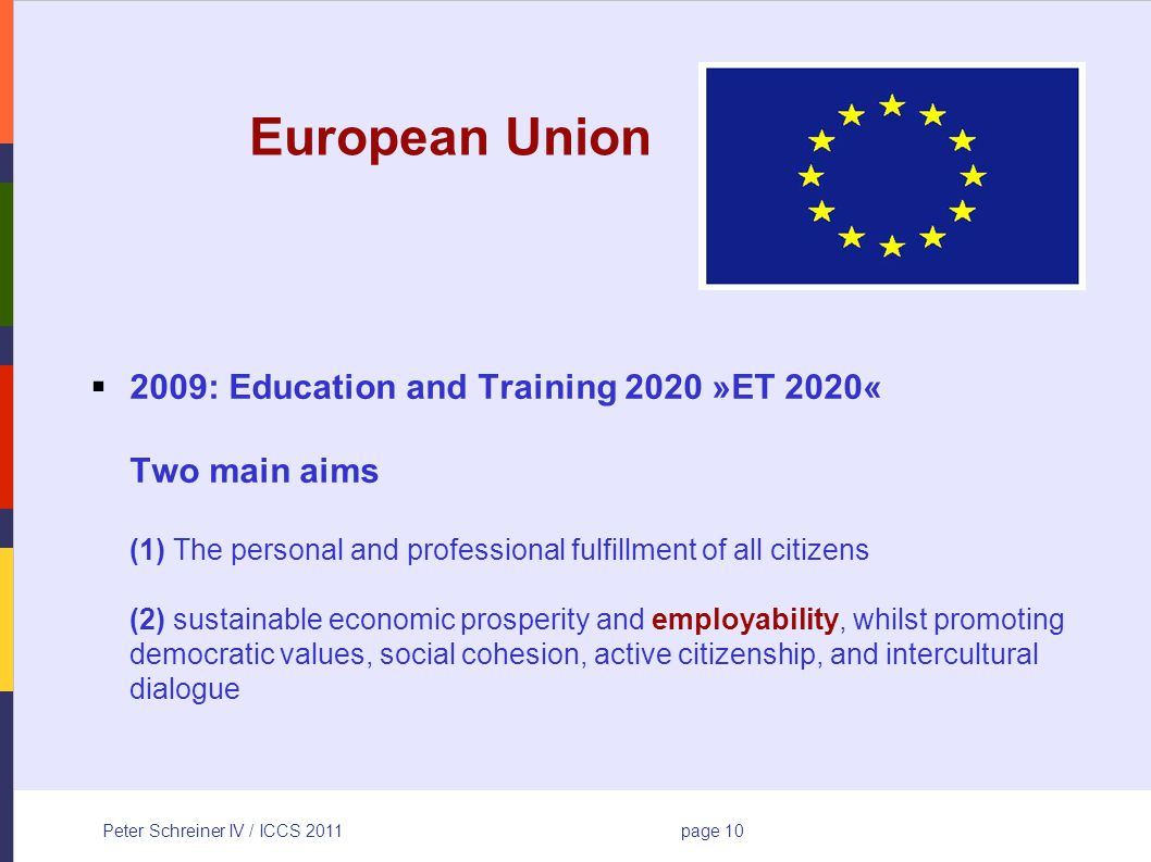 Peter Schreiner IV / ICCS 2011page 10 European Union 2009: Education and Training 2020 »ET 2020« Two main aims (1) The personal and professional fulfillment of all citizens (2) sustainable economic prosperity and employability, whilst promoting democratic values, social cohesion, active citizenship, and intercultural dialogue