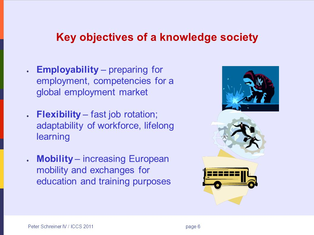 Peter Schreiner IV / ICCS 2011page 6 Key objectives of a knowledge society Employability – preparing for employment, competencies for a global employment market Flexibility – fast job rotation; adaptability of workforce, lifelong learning Mobility – increasing European mobility and exchanges for education and training purposes