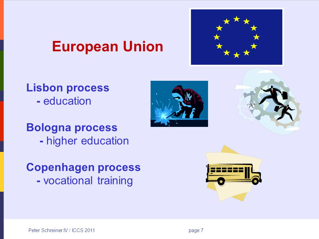 Peter Schreiner IV / ICCS 2011page 7 European Union Lisbon process - education Bologna process - higher education Copenhagen process - vocational training