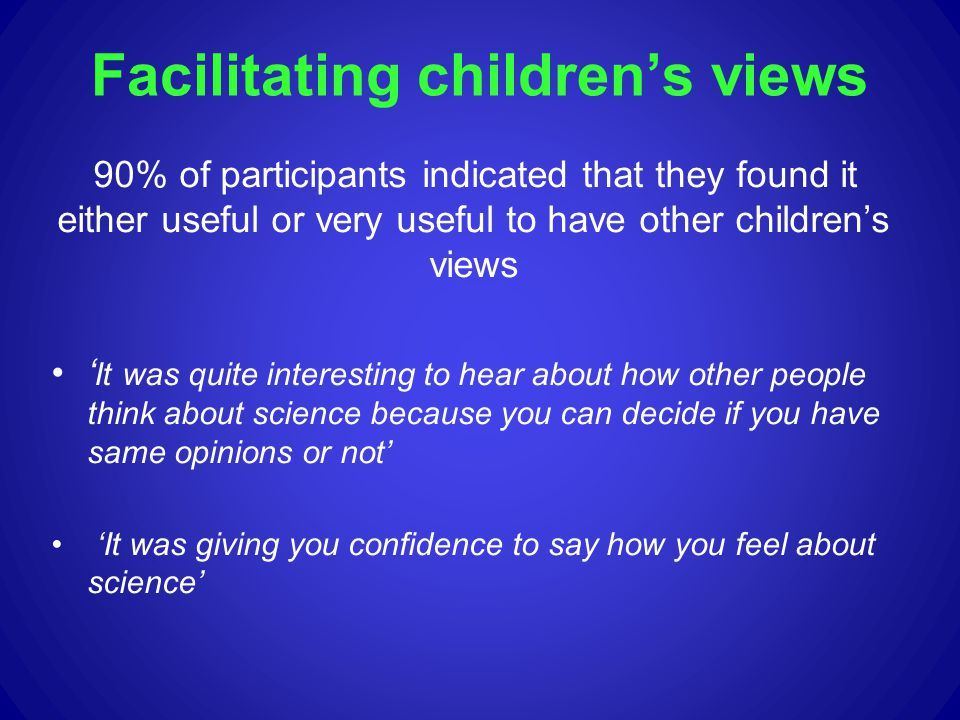 Facilitating childrens views 90% of participants indicated that they found it either useful or very useful to have other childrens views It was quite