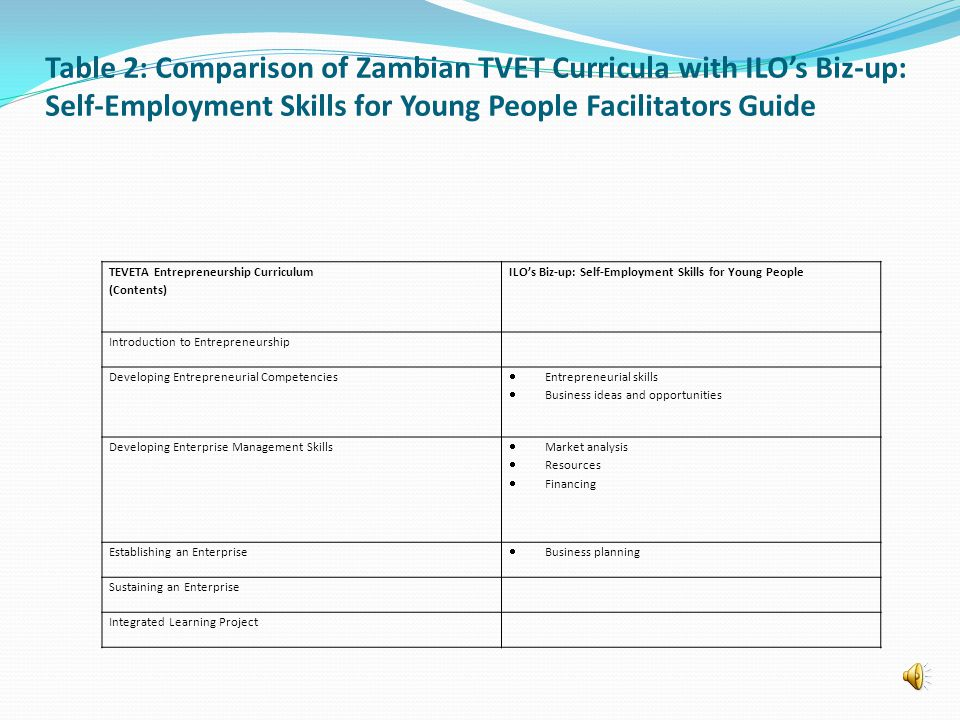 Table 2: Comparison of Zambian TVET Curricula with ILOs Biz-up: Self-Employment Skills for Young People Facilitators Guide TEVETA Entrepreneurship Curriculum (Contents) ILOs Biz-up: Self-Employment Skills for Young People Introduction to Entrepreneurship Developing Entrepreneurial Competencies Entrepreneurial skills Business ideas and opportunities Developing Enterprise Management Skills Market analysis Resources Financing Establishing an Enterprise Business planning Sustaining an Enterprise Integrated Learning Project