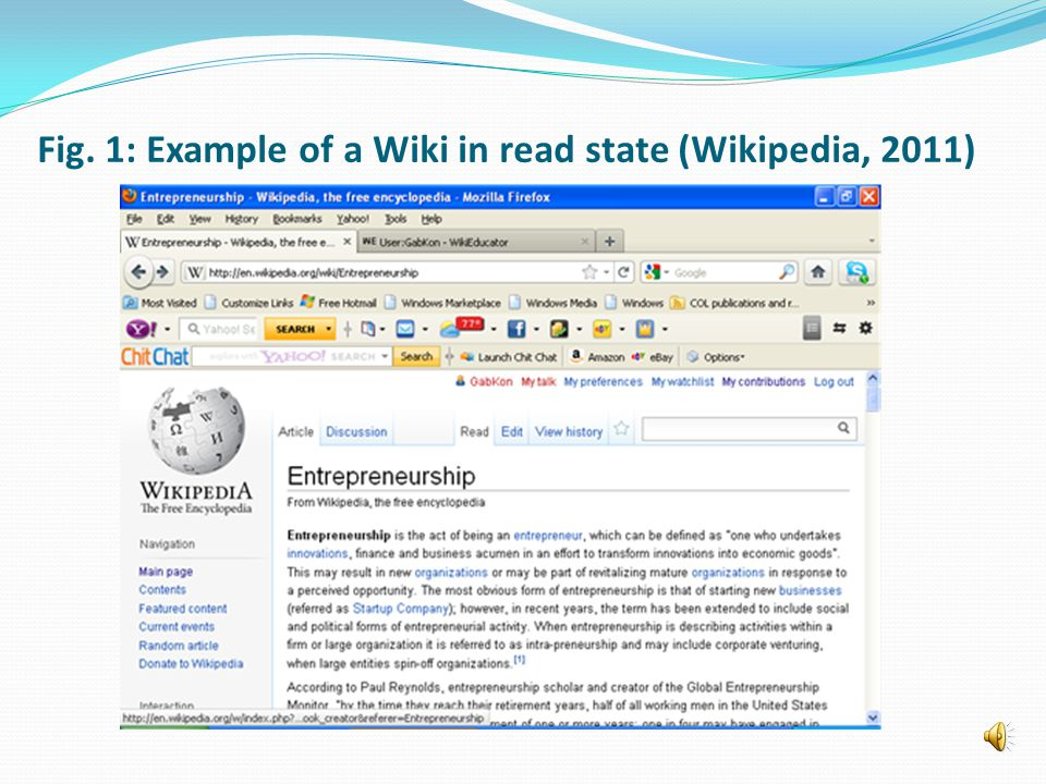 Fig. 1: Example of a Wiki in read state (Wikipedia, 2011)