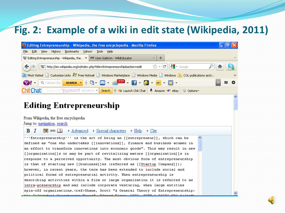 Fig. 2: Example of a wiki in edit state (Wikipedia, 2011)