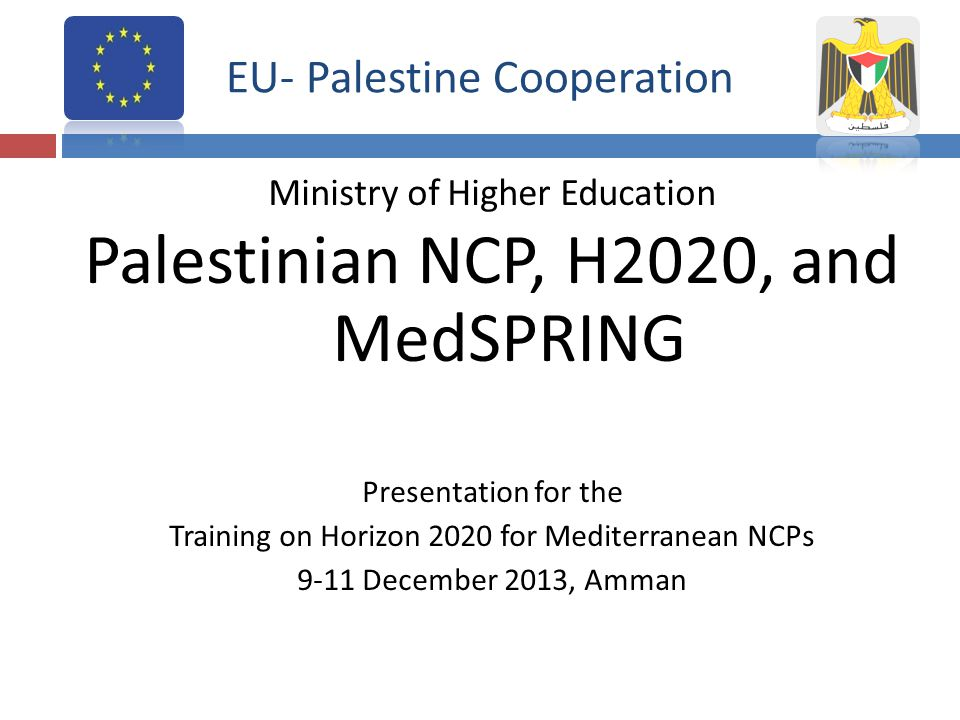 Introduction The Palestinian national contact point was launched in Palestine/Ramallah, in 2008..