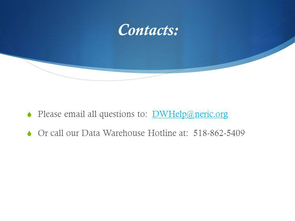 Contacts: Please email all questions to: DWHelp@neric.orgDWHelp@neric.org Or call our Data Warehouse Hotline at: 518-862-5409