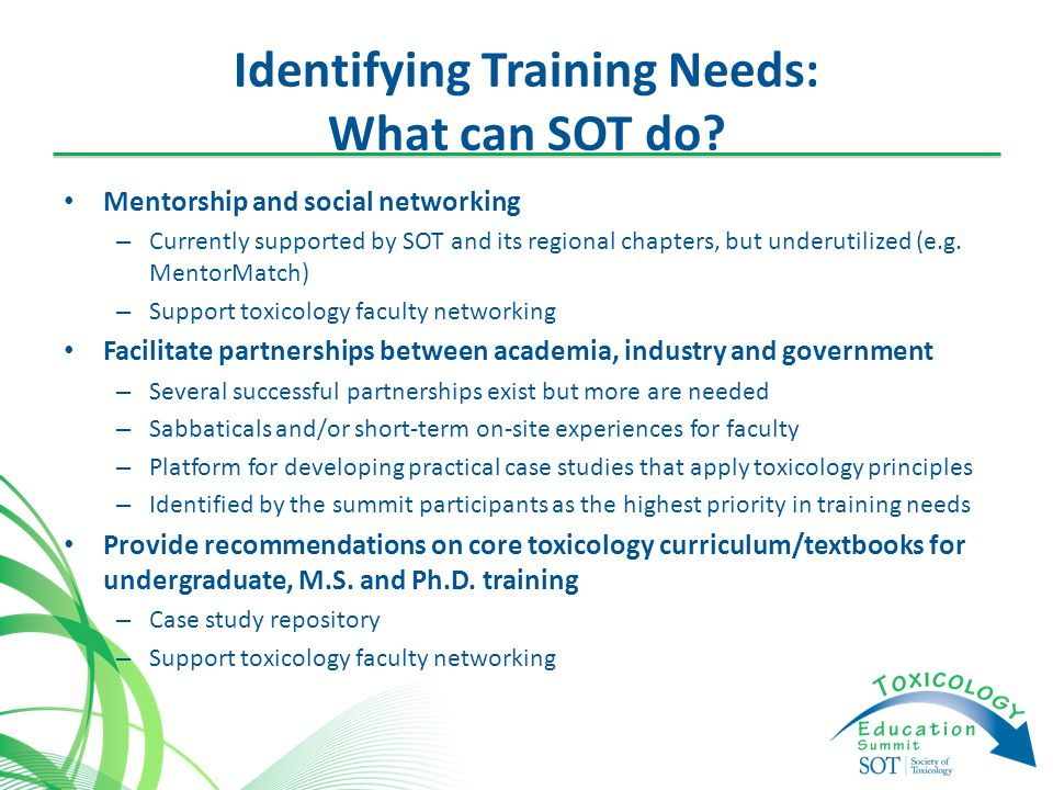 Identifying Training Needs: What can SOT do.
