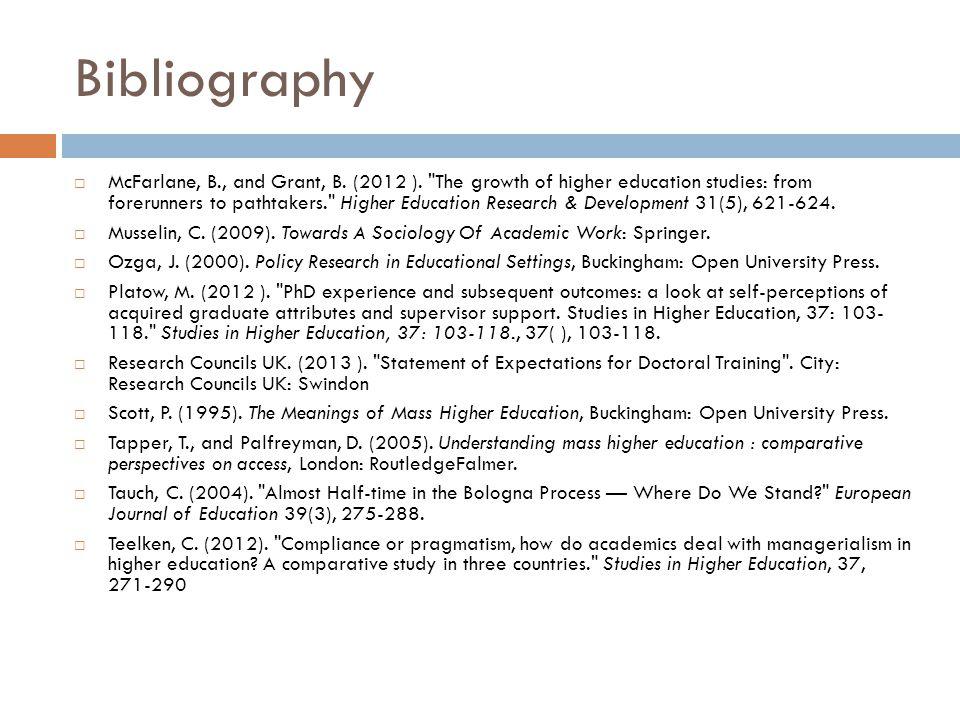 Bibliography McFarlane, B., and Grant, B. (2012 ).
