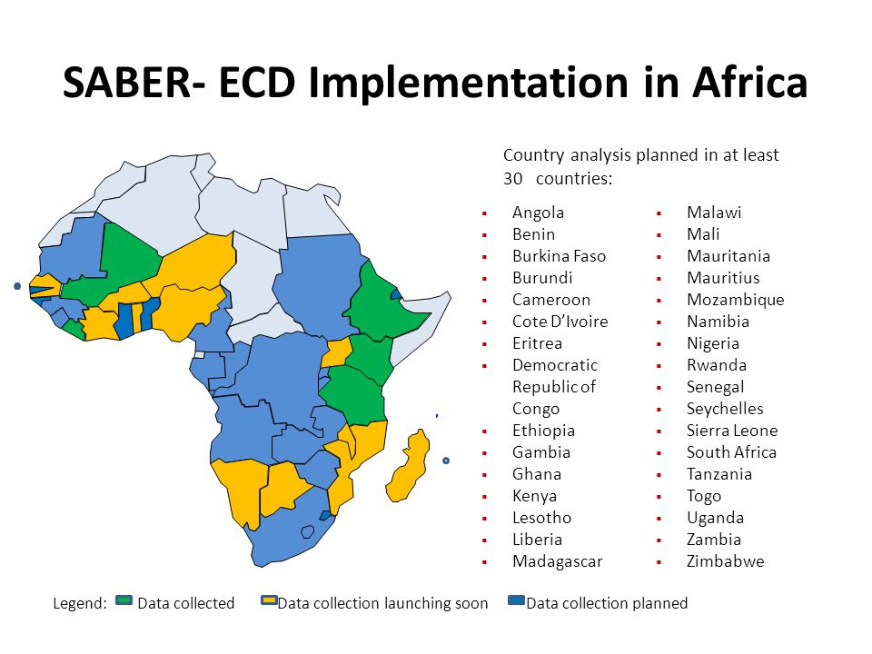 SABER- ECD Implementation in Africa Country analysis planned in at least 30 countries: Angola Benin Burkina Faso Burundi Cameroon Cote DIvoire Eritrea Democratic Republic of Congo Ethiopia Gambia Ghana Kenya Lesotho Liberia Madagascar Malawi Mali Mauritania Mauritius Mozambique Namibia Nigeria Rwanda Senegal Seychelles Sierra Leone South Africa Tanzania Togo Uganda Zambia Zimbabwe Legend: Data collected Data collection launching soon Data collection planned