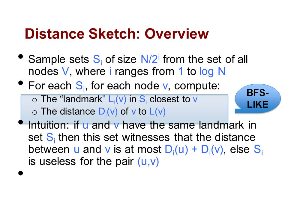 Distance Sketch: Overview Sample sets S i of size N/2 i from the set of all nodes V, where i ranges from 1 to log N For each S i, for each node v, compute: o The landmark L i (v) in S i closest to v o The distance D i (v) of v to L(v) Intuition: if u and v have the same landmark in set S i then this set witnesses that the distance between u and v is at most D i (u) + D i (v), else S i is useless for the pair (u,v) Repeat the entire process O(log N) times for getting good results BFS- LIKE