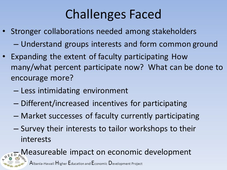 A lbania-Hawaii H igher E ducation and E conomic D evelopment Project Challenges For the Future Sustainability for the futureHow to produce lasting change What will produce lasting change.