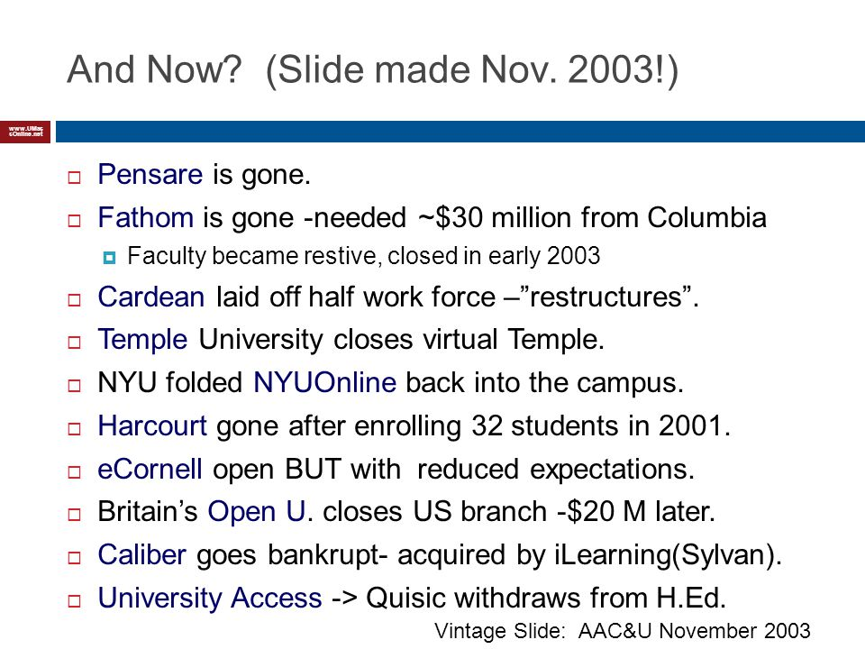 www.UMas sOnline.net And Now. (Slide made Nov. 2003!) Pensare is gone.