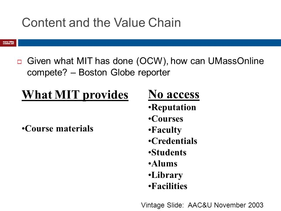 www.UMas sOnline.net Content and the Value Chain Given what MIT has done (OCW), how can UMassOnline compete.