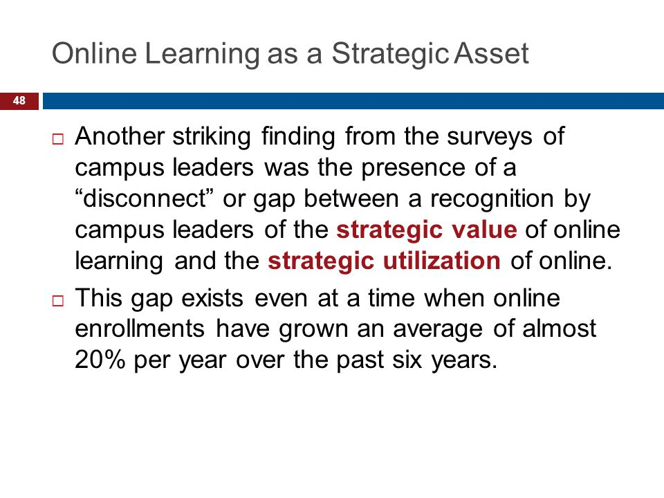 Online Learning as a Strategic Asset Another striking finding from the surveys of campus leaders was the presence of a disconnect or gap between a recognition by campus leaders of the strategic value of online learning and the strategic utilization of online.