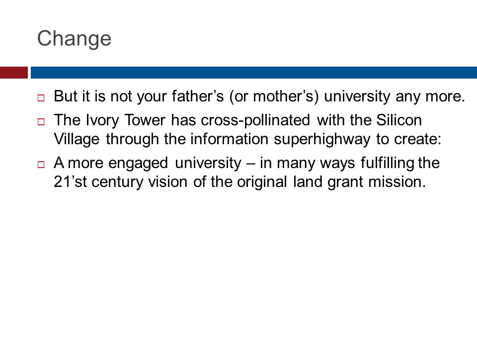 Change But it is not your fathers (or mothers) university any more.