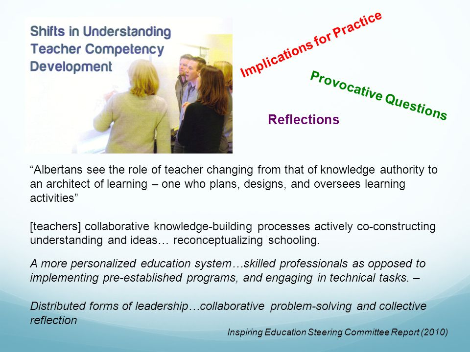 Albertans see the role of teacher changing from that of knowledge authority to an architect of learning – one who plans, designs, and oversees learning activities [teachers] collaborative knowledge-building processes actively co-constructing understanding and ideas… reconceptualizing schooling.