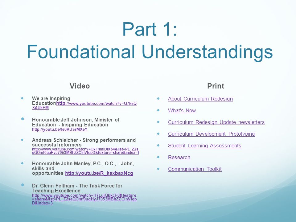 Part 1: Foundational Understandings Video We are Inspiring Educationhttp ://www.youtube.com/watch v=Q7ksQ SAUkEMhttp ://www.youtube.com/watch v=Q7ksQ SAUkEM Honourable Jeff Johnson, Minister of Education - Inspiring Education http://youtu.be/fe0KUSrMXeY http://youtu.be/fe0KUSrMXeY Andreas Schleicher - Strong performers and successful reformers http://www.youtube.com/watchv=OxFnmiDlXS4&list=PL_Z2s eQOmf0ugHyJ7053MBhZZCInVfgpD&feature=share&index=1 http://www.youtube.com/watchv=OxFnmiDlXS4&list=PL_Z2s eQOmf0ugHyJ7053MBhZZCInVfgpD&feature=share&index=1 Honourable John Manley, P.C., O.C., - Jobs, skills and opportunities http://youtu.be/R_ksxbaxNcghttp://youtu.be/R_ksxbaxNcg Dr.