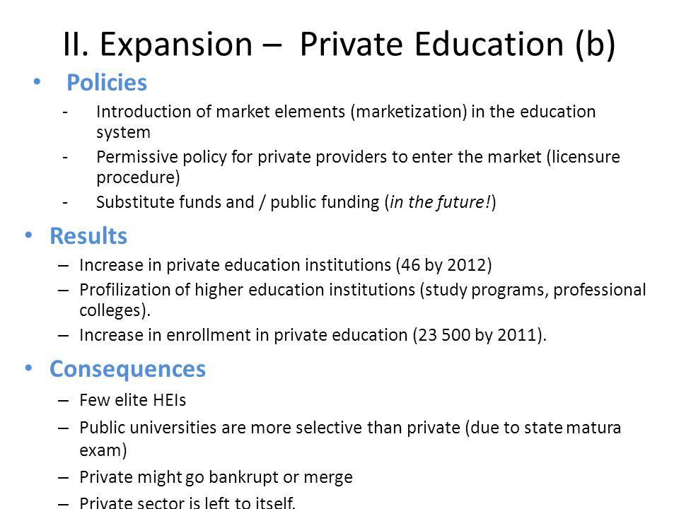 II. Expansion – Private Education (b) Policies -Introduction of market elements (marketization) in the education system -Permissive policy for private