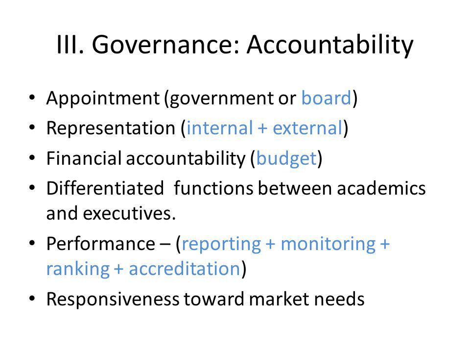 III. Governance: Accountability Appointment (government or board) Representation (internal + external) Financial accountability (budget) Differentiate