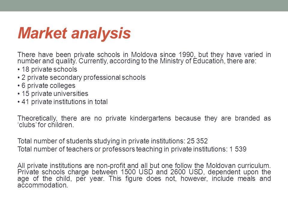 Market analysis There have been private schools in Moldova since 1990, but they have varied in number and quality.