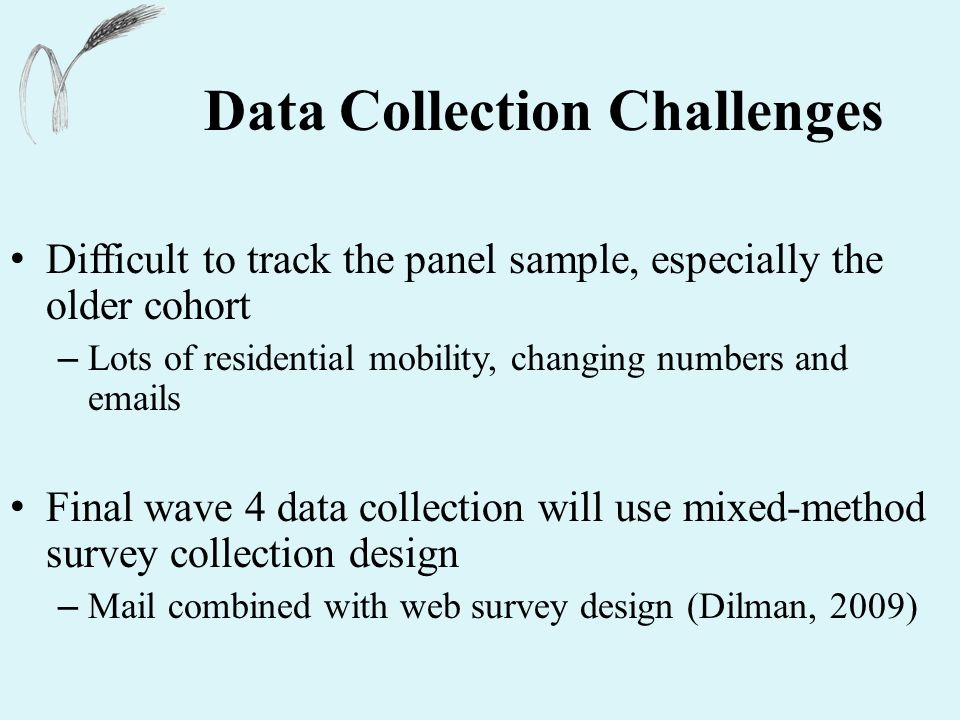 Data Collection Challenges Difficult to track the panel sample, especially the older cohort – Lots of residential mobility, changing numbers and emails Final wave 4 data collection will use mixed-method survey collection design – Mail combined with web survey design (Dilman, 2009)