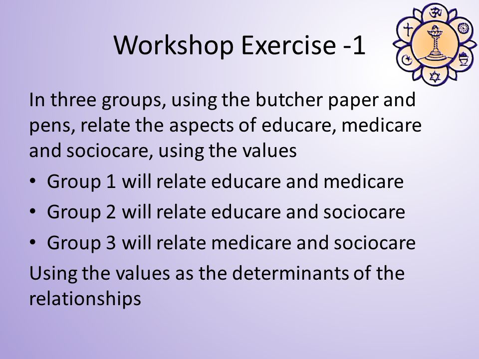 Workshop Exercise -1 In three groups, using the butcher paper and pens, relate the aspects of educare, medicare and sociocare, using the values Group 1 will relate educare and medicare Group 2 will relate educare and sociocare Group 3 will relate medicare and sociocare Using the values as the determinants of the relationships