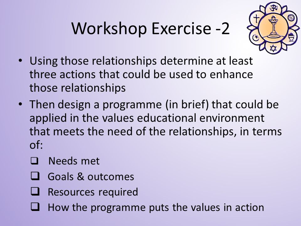 Using those relationships determine at least three actions that could be used to enhance those relationships Then design a programme (in brief) that could be applied in the values educational environment that meets the need of the relationships, in terms of: Needs met Goals & outcomes Resources required How the programme puts the values in action Workshop Exercise -2