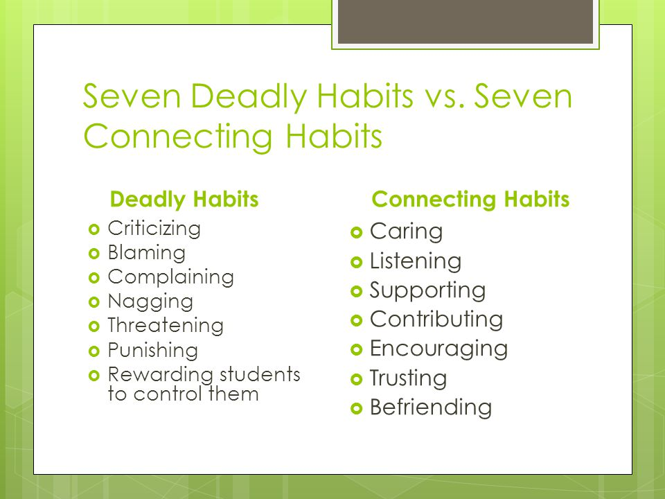 Seven Deadly Habits vs. Seven Connecting Habits Deadly Habits Criticizing Blaming Complaining Nagging Threatening Punishing Rewarding students to cont