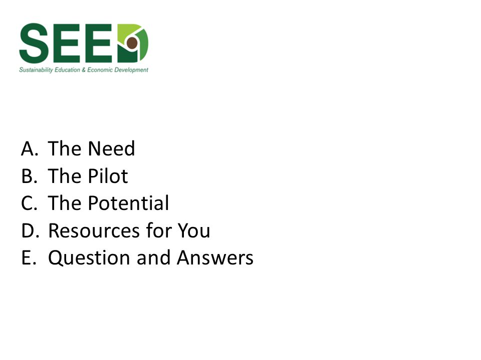 A.The Need B.The Pilot C.The Potential D.Resources for You E.Question and Answers