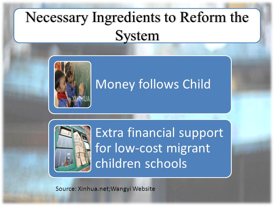 Necessary Ingredients to Reform the System Money follows Child Extra financial support for low-cost migrant children schools Source: Xinhua.net;Wangyi