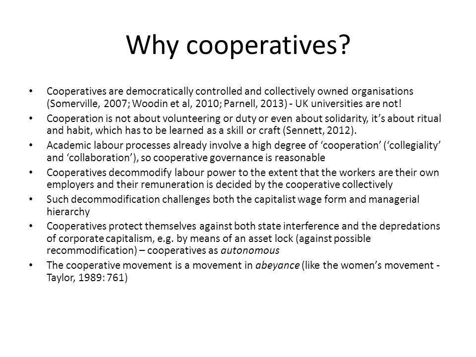 Why cooperatives.