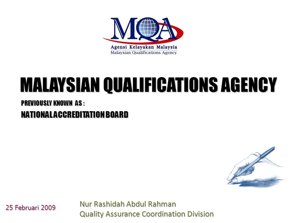National reference for standards and articulation point for all accredited programmes, qualifications and institutions Ensure authenticity, clear and up-to-date information for internal and external clients (National Reference Centre) IFE 2020 Leadership Institute MALAYSIAN QUALIFICATIONS REGISTER