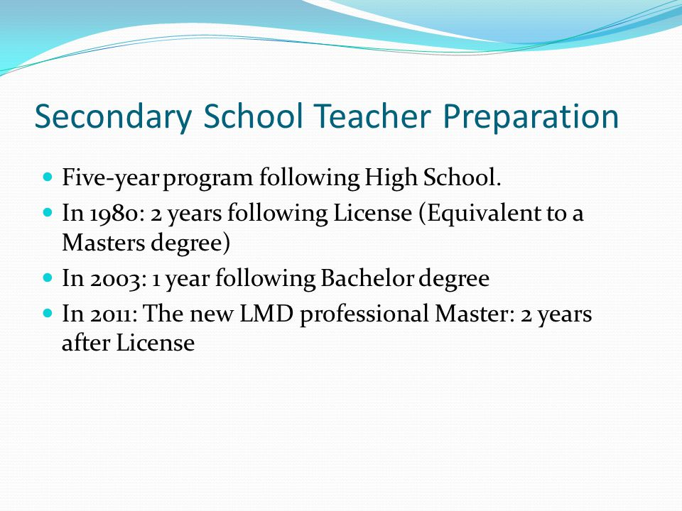 Secondary School Teacher Preparation Five-year program following High School.
