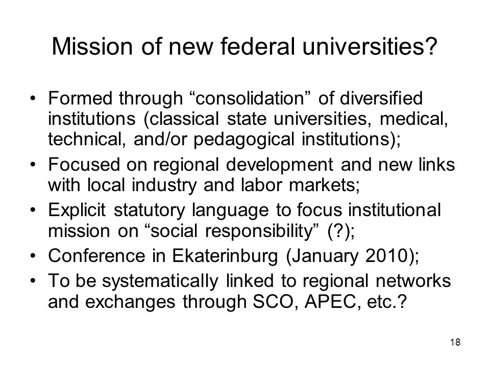18 Mission of new federal universities.