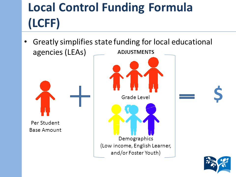 Local Control Funding Formula (LCFF) Greatly simplifies state funding for local educational agencies (LEAs) Per Student Base Amount Grade Level Demographics (Low income, English Learner, and/or Foster Youth) ADJUSTMENTS $