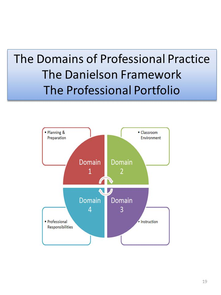 19 The Domains of Professional Practice The Danielson Framework The Professional Portfolio The Domains of Professional Practice The Danielson Framewor