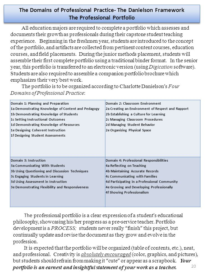 20 The Domains of Professional Practice- The Danielson Framework The Professional Portfolio The Domains of Professional Practice- The Danielson Framew