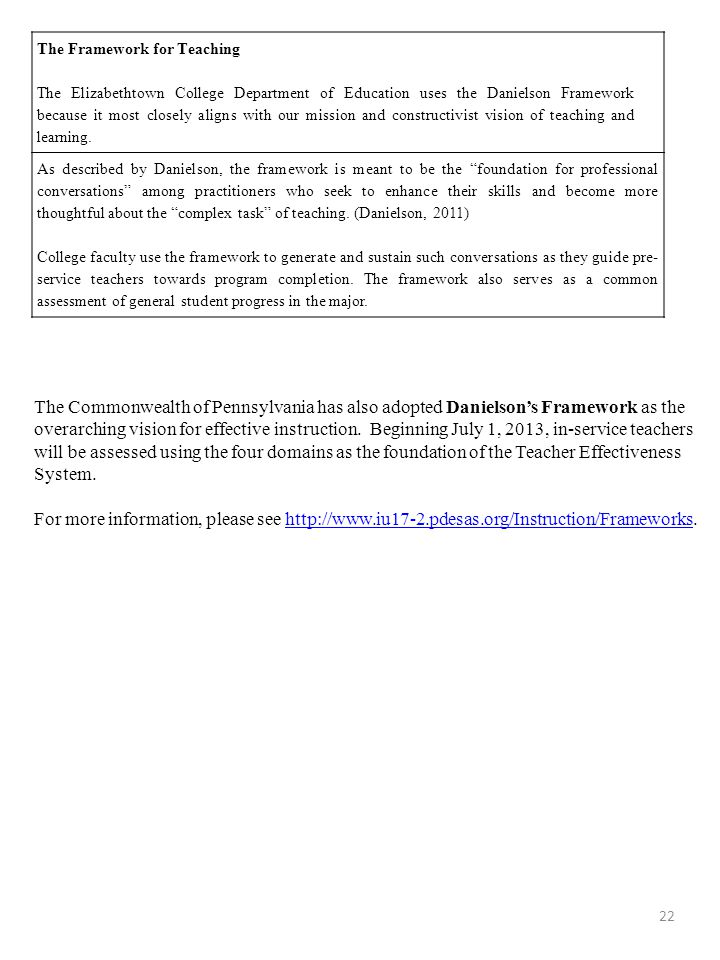 22 The Framework for Teaching The Elizabethtown College Department of Education uses the Danielson Framework because it most closely aligns with our m