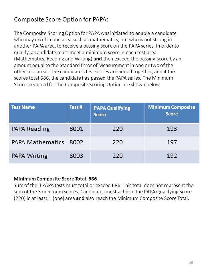 39 Composite Score Option for PAPA: The Composite Scoring Option for PAPA was initiated to enable a candidate who may excel in one area such as mathem