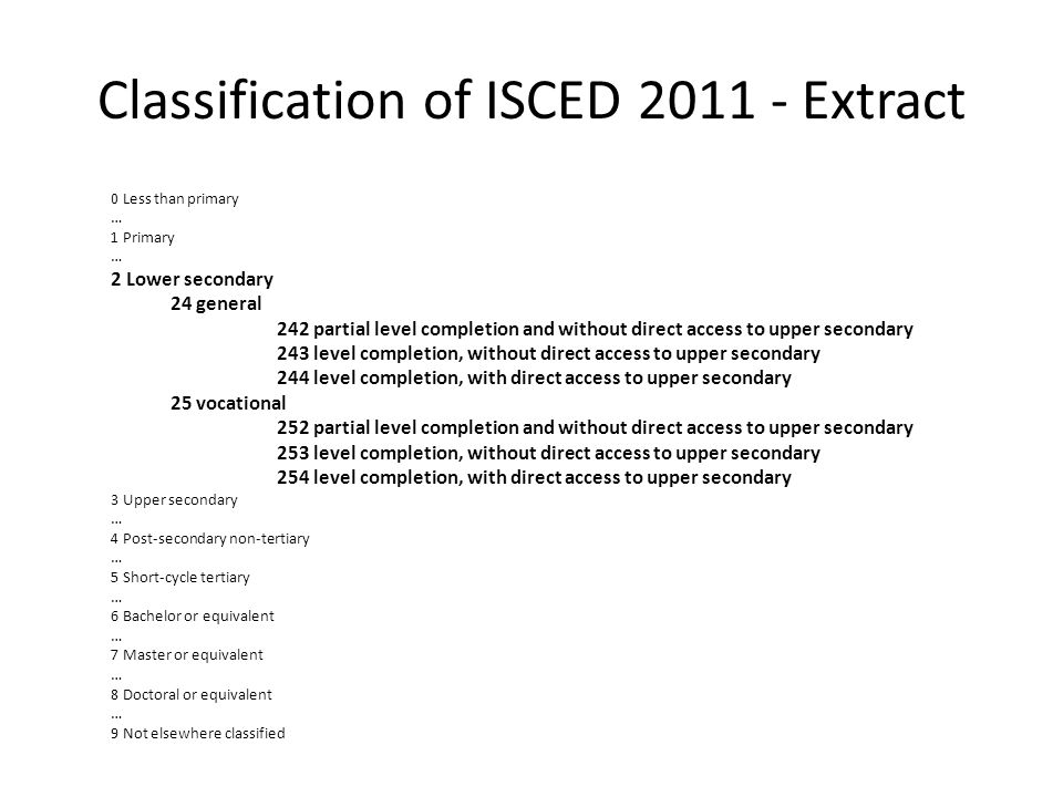 ISCED 2011 - Complete Standard Three components: – Classification – Operational concepts and definitions as structured text – Mappings of national programs to classification Required for usage in official statistics and surveys, especially to achieve comparability Not available yet, planned for the next few years