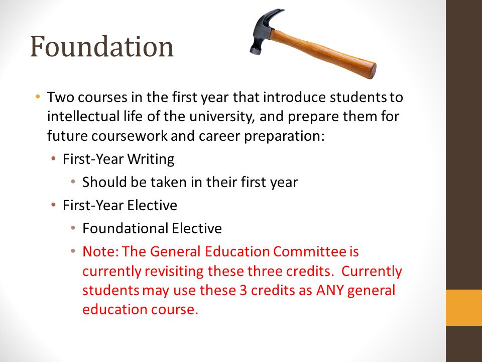 Foundation Two courses in the first year that introduce students to intellectual life of the university, and prepare them for future coursework and ca