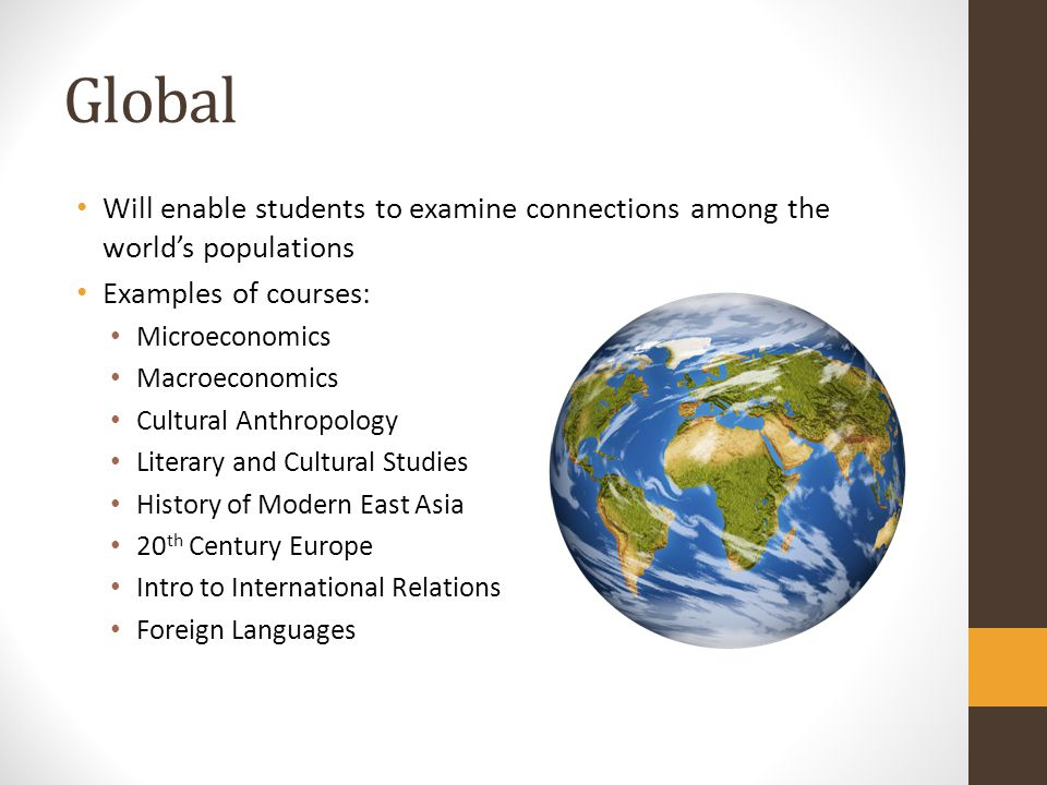Global Will enable students to examine connections among the worlds populations Examples of courses: Microeconomics Macroeconomics Cultural Anthropolo