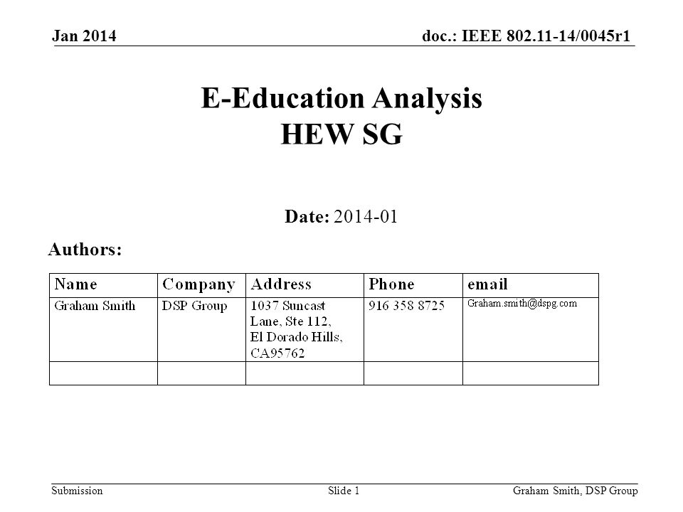 doc.: IEEE 802.11-14/0045r1 Submission Jan 2014 E-Education Analysis HEW SG Date: 2014-01 Authors: Graham Smith, DSP GroupSlide 1