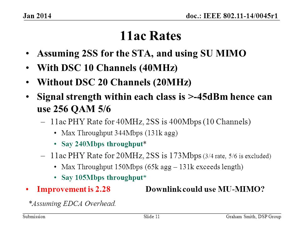 doc.: IEEE 802.11-14/0045r1 Submission Assuming 2SS for the STA, and using SU MIMO With DSC 10 Channels (40MHz) Without DSC 20 Channels (20MHz) Signal